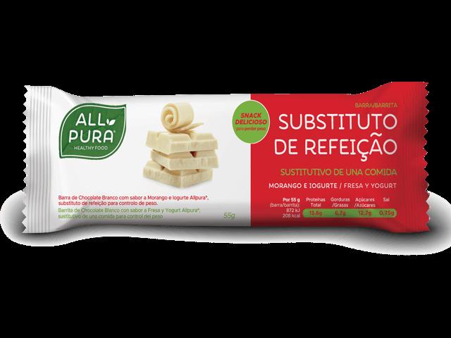 ALLPURA BARRA SUBSTITUTA REFEICAO CHOCOLATE BRANCO | MORANGO E IOGURTE 55G